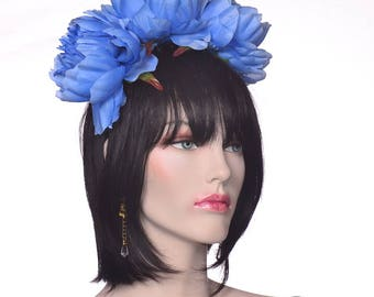 Flower Headband Blue Peonies Style Dia de la Muerte Day of the Dead Headband Catrina