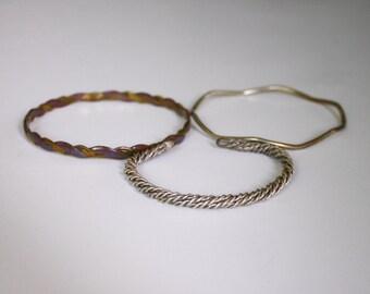 Silver and Brass Bracelets