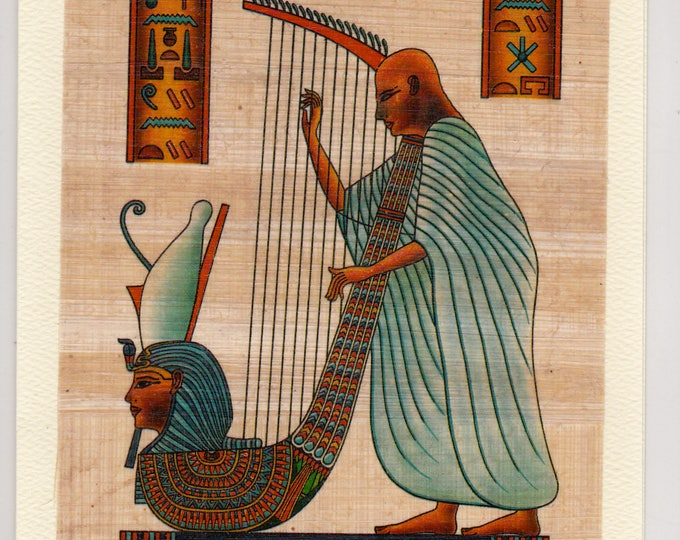 NEW! Harp Player Egyptian Papyrus Note Card. Unique Design! Great gift!