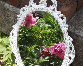 Ornate Mirror, Oval Mirror, Small Mirror, Vintage Mirror, White or Choose Color, Shabby Chic,  17 x 12 inchess