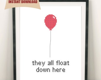 IT Pennywise Clown - Stephen King - Red Ballon - Cross Stitch Pattern - Movie - INSTANT DOWNLOAD - 2