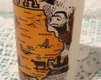 Vintage Iowa Frosted Tumbler -  Iowa Barware Souvenir Glass  - 15-745