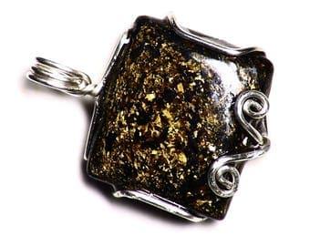 Bronzite Pendant in Sterling Silver, Bronzite Cabochon Necklace, Bronzite Jewelry, Square Cab Gemstone, Black Bronze Rare Sparkle Stone