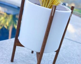 "18"" Large Modern Ceramic Planter & Quad Base Walnut Stand Mid Century - Eames Era Bullet Vintage Style Pottery IP"