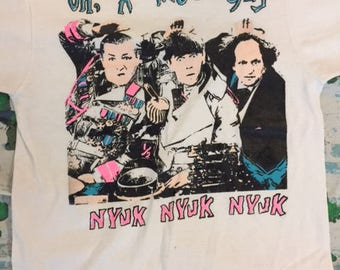 Vintage 80's Oh, a wise guy Nyuk The Three Stooges t shirt size M