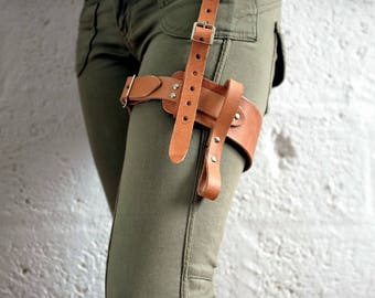 Real Leather Single Thigh Harness - Tan - steampunk - burning man - apocalypse, Please read Description for size