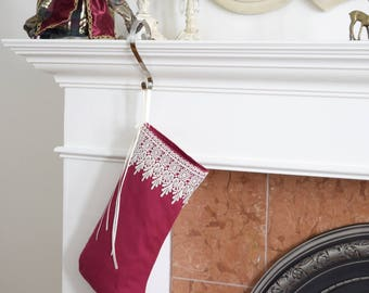 Elf stocking Princess Cyrielle Red Pink with lace and ribbons Holiday decoration Girl's bedroom decor