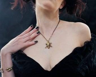 Xmas in July Sale Miyu Decay Bat Skull and Crossbone Necklace Brass
