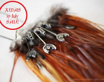 Xmas in July Sale Ready to Ship Pewter Bat Skull Necklace on Fire Orange Feather Pelt