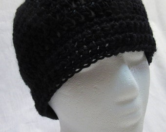 Black Wool Cap, Skull, Beanie, Mans, Crochet, Knit, Goth, Night, Watchcap, Handmade, Steampunk, Womans, Birthday Gift, New, Spring, Easter