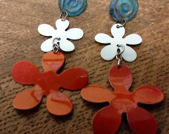 1960s Tin Flower Assemblage Earrings