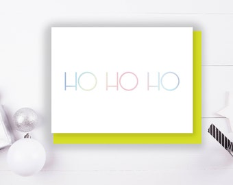 Ho Ho Ho Foil Stamped Christmas Greeting Card with Envelope, 1 CT