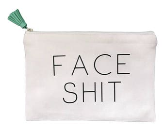 Face Shit Canvas Makeup Bag with Suede Tassel