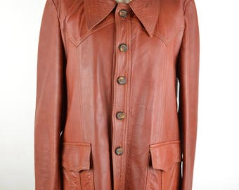 70s men's terracotta leather safari jacket Size 42 | western style real leather hip length coat with pockets | rust orange tan