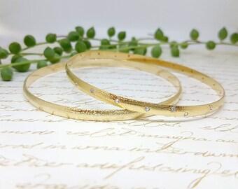 Women's Gift, Bridal Gold Bangle Cubic Zirconia Gold Bangle, Wedding Bangle, Wedding Bangle Bracelet , Classic Gold Bangle, Bridal Bangle