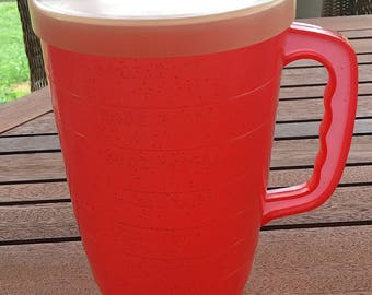 1950's Red Plastic 64 Ounce Pitcher with Lid