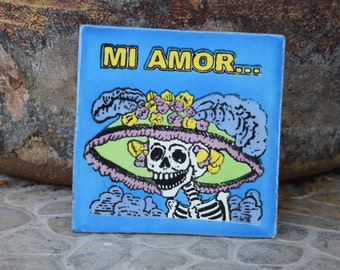 Catrina Ceramic Tile Dia de los Muertos Day of the Dead Mexican Tile  4 x 4