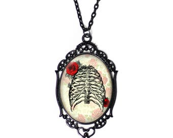 Ribcage and Red Roses 30x40mm Black Cameo Necklace