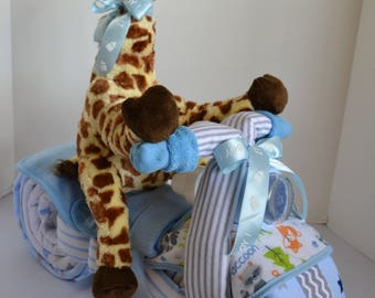 Diaper Cake, Motorcycle Diaper Cake, Baby Shower Gift, 2 Wheeler, Neutral Gift, Giraffe Stuffed Animal, Jungle New Baby