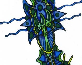 "Plantlife-8.5"" x 11"" original abstract art drawing"