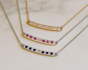 Curved bar necklace with diamond and gemstones - Available in 14k, 18k and Platinum