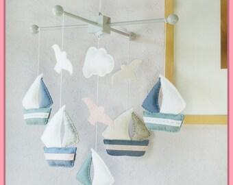 Baby Mobile, Nursery Decor, Sailboats Mobile, Hanging Mobile, Watercolor Sailboats, Grayish Blue Granite Light Pink White