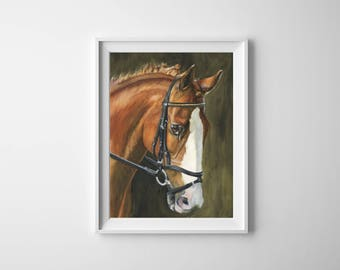 Chestnut, horse - Original Watercolor Painting - 8 x 11 inches