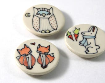 Foxes in Love Magnet Handmade Ceramic Refrigerator Magnet Fox Illustration with Woodland Animal Cute Pottery Magnets Small Gifts Under 10