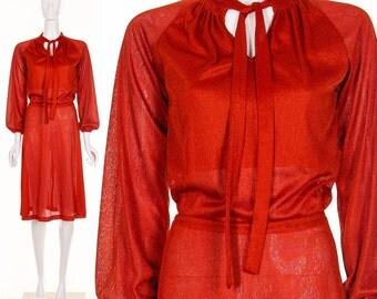 Vintage 70's Knit Rustic Red Secretary Dress