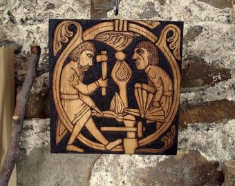 Viking plaque, wood, art, carved, wood burning, Norse, Mythology, Viking decor, Norse home, pyrography, replica, Heathen, Pagan, Asatru,