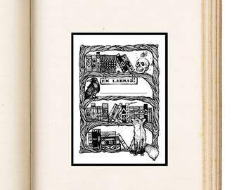 """Ex Libris Book Name Plate Pack of 10 / """"From the Books"""" Nameplate - 3 Inch x 4 Inch"""