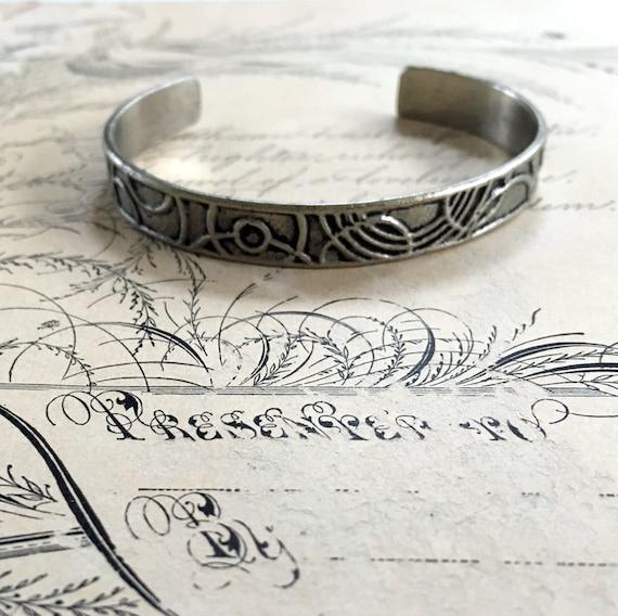 White Bronze Cuff | Art Deco Jewelry | Stackable Bracelets