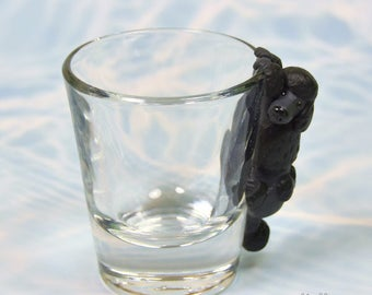 Hand Sculpted Black Poodle 1.5 oz Shotglass