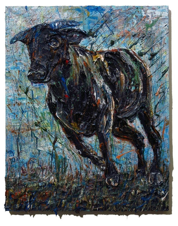 Oil Paint on Stretched Canvas of 30 by 24 by 3/4 in. / Original oil painting  bull art abstract animal signed expressionism wild