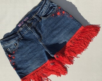 Jean shorts with red embroidery & fringes