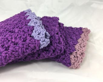 Cotton wash cloths, eco-friendly dish cloths, purple lavender