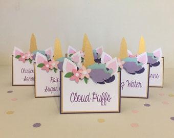 Unicorn party, Unicorn birthday decorations - set of 6, unicorn food labels