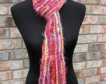 Pink Multicolor Rainbow Scarf Skinny Scrappy - Fruit Stripe - Handmade