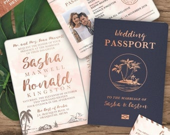 Destination Wedding Passport Invitation Set in Rose Gold Watercolor Tropical Design by Luckyladypaper - see details to order
