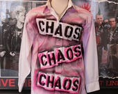 Punk Men's Shirt Button Up Long Sleeve Seditionaries Top 77 Sex Pistols The Clash Chaos Neon Hot Pink Black Punk Rock Dress Shirt
