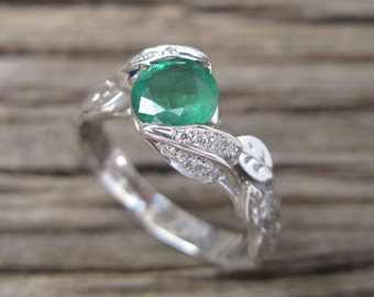 Emerald Leaf Engagement Ring, Emerald Engagement Ring, Leaf Emerald Ring, White Gold Leaves Ring With Natural Emerald, Natural Floral ring