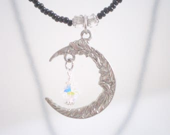 Crescent Moon Necklace,  Pewter Moon Pendant, Dark Jewelry, Celestial-themed Jewelry, Moon Jewelry, Reduced Price