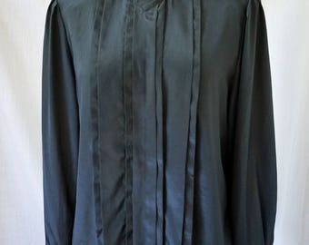 Black 80's Blouse/ Kristen Brand/ Size 6 / Career wear black polyester blouse with pleated front, shoulder pads, 1980's office vintage
