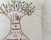 Wedding Anniversary Personalized Family Tree Pillow Cover. Parents Anniversary Gift. Couples Names and Wedding Year.  Custom Mothers Day.