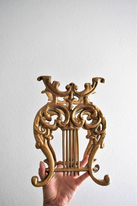 mid century hollywood regency metal gold harp magazine holder / file rack