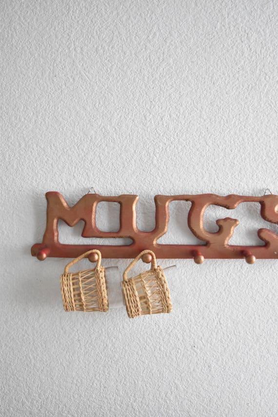 large mid century red wall hanging wooden peg mug rack