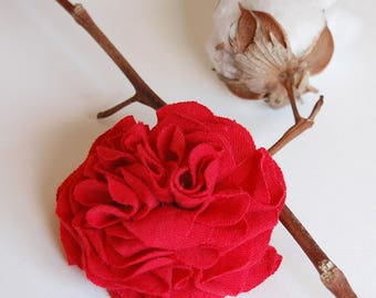 Red Fabric Flower Pin - True Love - Repurposed Recycled T-shirt - Ready to Ship