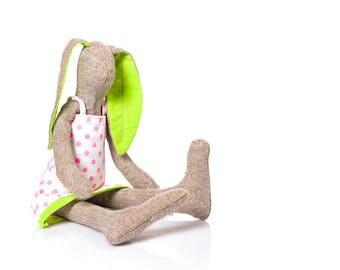 Cuddling doll - plush rabbit doll , stuffed bunny doll , art doll bunny, rabbit stuffed animal Doll, soft toy , handmade eco doll girl gift