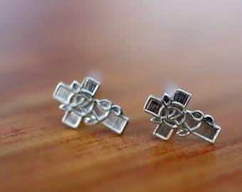 Silver Cross Earrings, Confirmation Gift, Silver Cross Studs, .925 Sterling Silver Jewelry, Delicate Little Dainty Cross Post Earrings