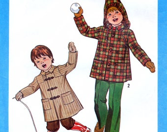 Simplicity 8635 Vintage 70s Sewing Pattern for Child's Coat or Jacket with Detachable Hood - Uncut - Size 3